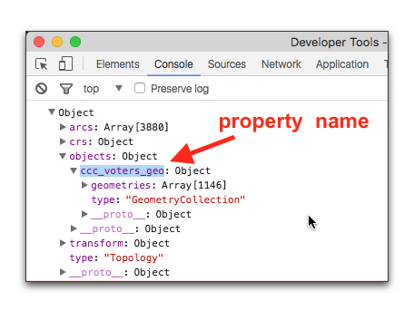 Looking at console to find object property for features