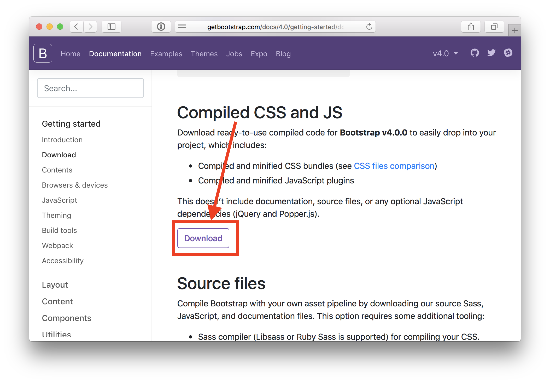 Download compiled version of Bootstrap