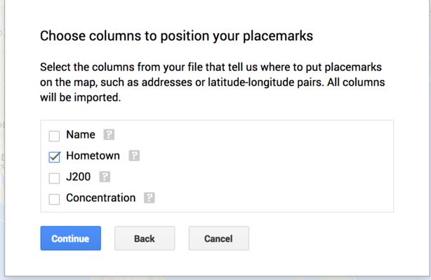 Choose Location Columns Window