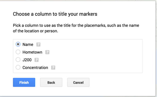 Choose Title Column Window