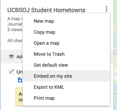 Selecting Embed from Menu