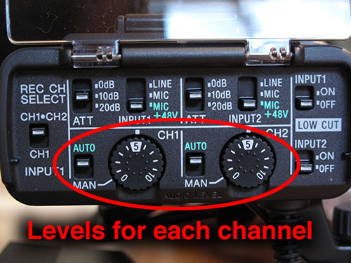 Adjust audio levels for each channel