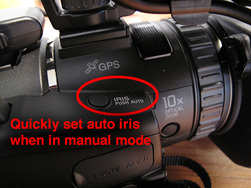 Quickly set auto iris when in manual mode