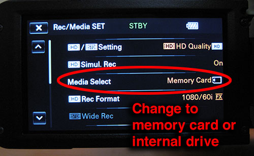 Changing Sony NX70 to use memory card