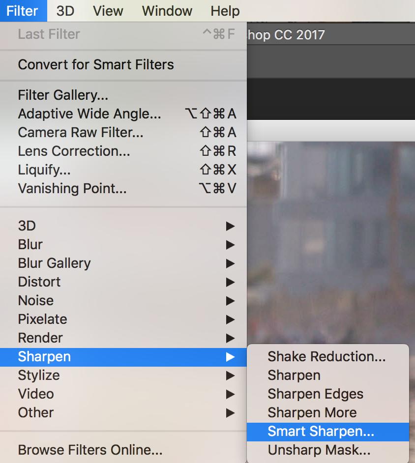 smart sharpen menu