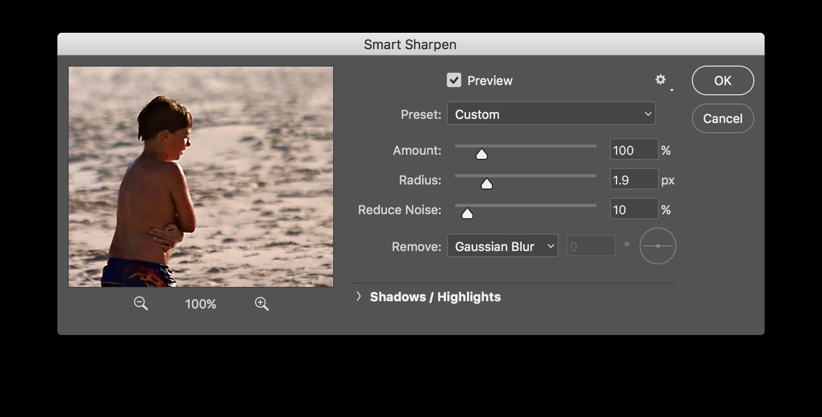 smart sharpen dialogue box