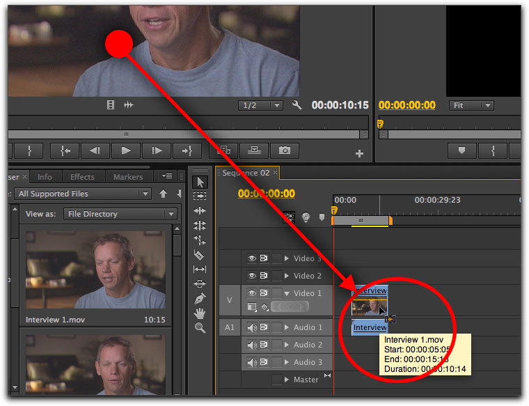 Dragging clips to the timeline in Adobe Premiere CS6