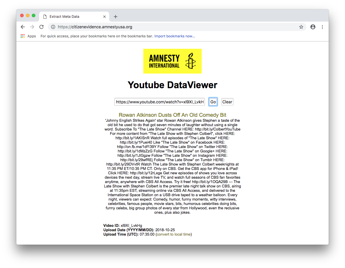 Amnesty International YouTube Data Viewer screenshot