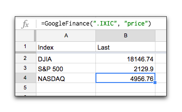 Google Finance market index spreadsheet