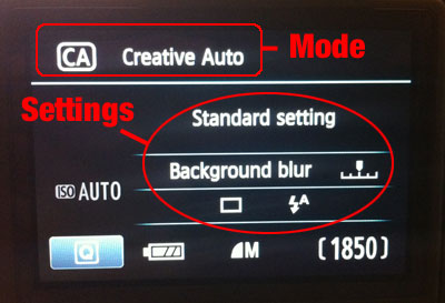 Creative Auto mode options on Rebel T3i