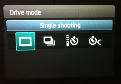 Drive mode on Canon T3i