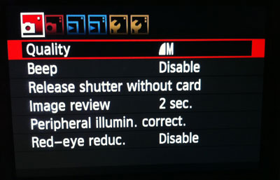 Main menu on the Canon Rebel T3i