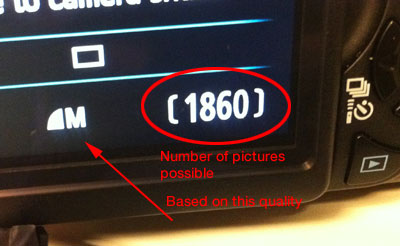 Number of pictures left shown on LCD of Canon Rebel T3i