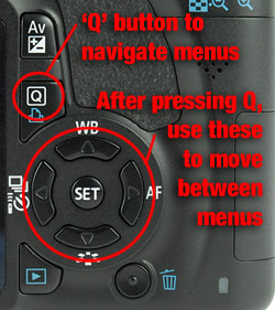 Q button on the back of the T3i
