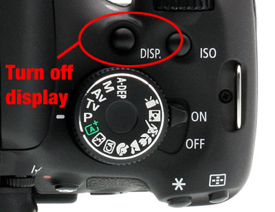 Turn off LCD display on Canon T3i